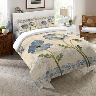 Laural Home Blue Poppies Reversible Comforter