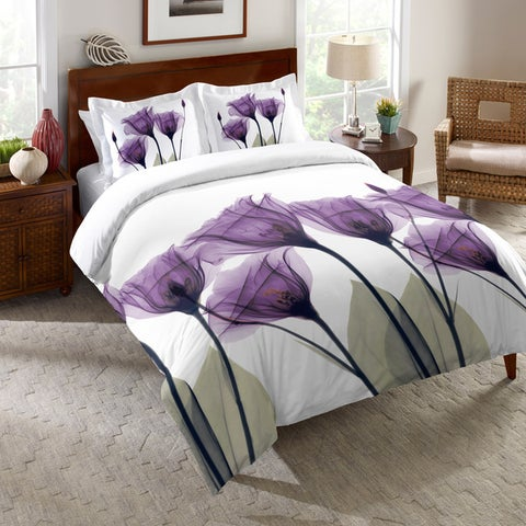 Laural Home Lavender Floral X-Ray Comforter