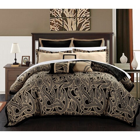 Chic Home Tullia Black/Beige Reversible 8-Piece Comforter/Quilt Set