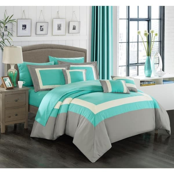 Chic Home Darren Turquoise Grey White 10 Piece Bed In A Bag With Sheet Set Overstock 11562075