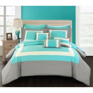 Chic Home Darren Turquoise/Grey/White 10-Piece Bed in a Bag with Sheet Set