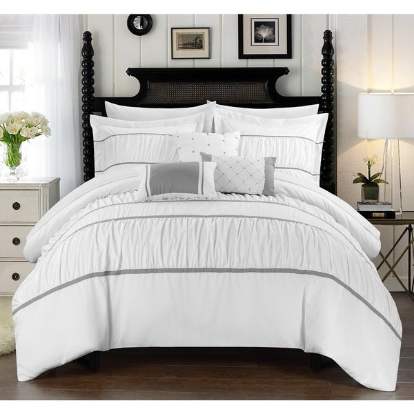 Silver Orchid Normand White 10-piece Bed in a Bag with Sheet Set
