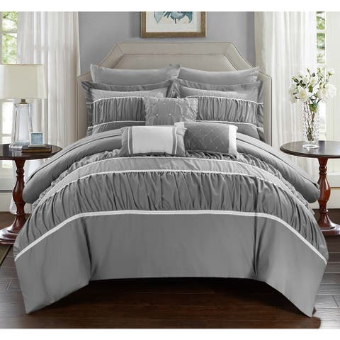 Silver Orchid Monroe Grey 10-piece Bed-in-a-Bag with Sheet Set