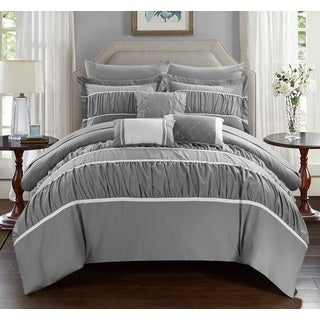 Chic Home Wanda Grey 10-Piece Bed In a Bag with Sheet Set