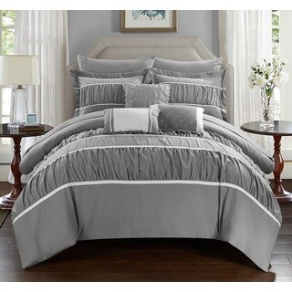 Silver Orchid Purviance Grey 10-piece Bed In a Bag with Sheet Set