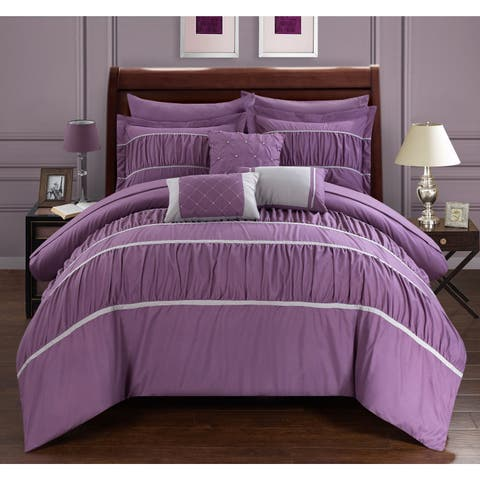 Silver Orchid Monroe Plum 10-piece Bed in a Bag with Sheets Set