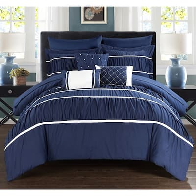 Silver Orchid Monroe Navy 10-piece Bed In a Bag with Sheet Set