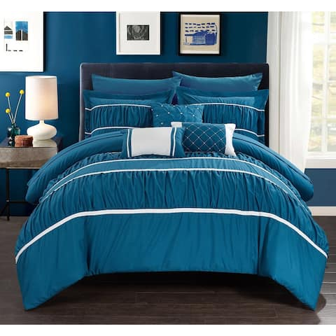Silver Orchid Monroe Blue 10-piece Bed In a Bag with Sheet Set