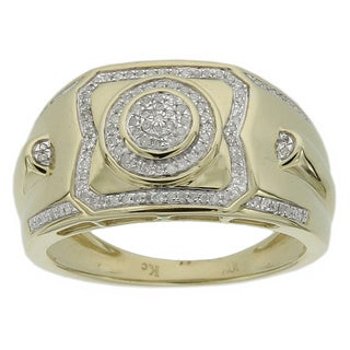Men's 10k Yellow Gold Men's 1/4ct TDW Diamond Ring (GH- I2-I3)