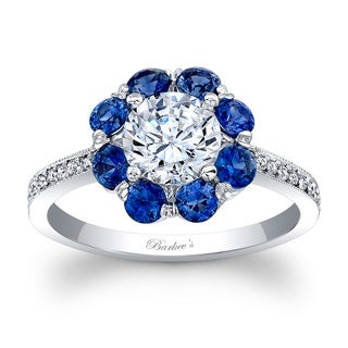 Barkev's Designer 14k White Gold Blue Sapphire and 1 1/10ct TDW Diamond Halo Flower Ring