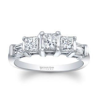 Matthew Ryan Designs Princess Cut 3 stone Ring with diamond Accents in 14KT White Gold