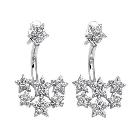 14k White Gold 1/5ct TDW Diamond Behind The Ear Jacket Earrings Set