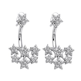 Beverly Hills Charm 14k White Gold 1/5ct TDW Diamond Behind The Ear Floating Jacket Earrings Set (H-I, SI2-I1)