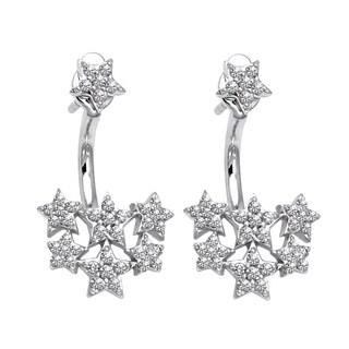 14k White Gold 1/5ct TDW Diamond Behind The Ear Floating Jacket Earrings Set