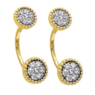 Beverly Hills Charm 14k Yellow Gold 1ct TDW Diamond Behind The Ear Floating Jacket Earrings Set (H-I, SI2-I1)