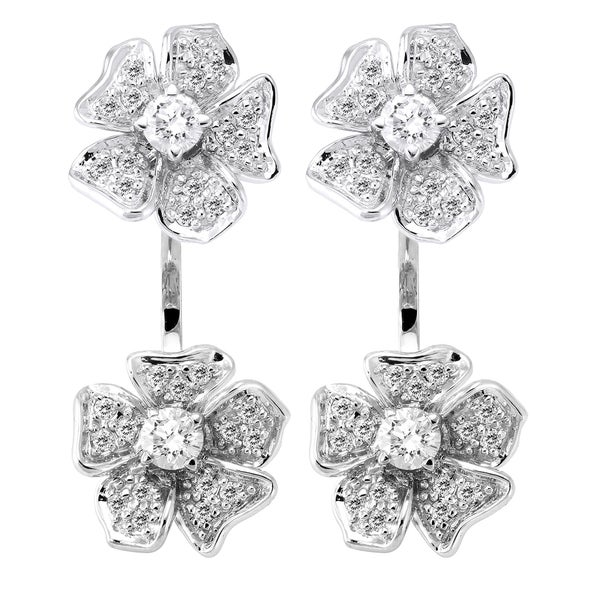 Image result for 14k White Gold 1ct TDW Diamond Behind The Ear Jacket Flower Earrings Set