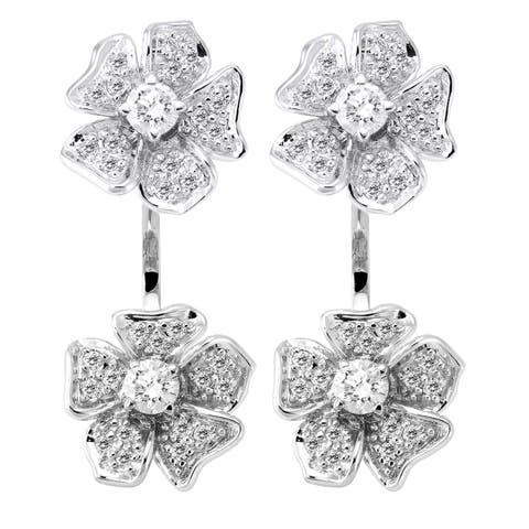 14k White Gold 1ct TDW Diamond Behind The Ear Jacket Earrings by Beverly Hills Charm