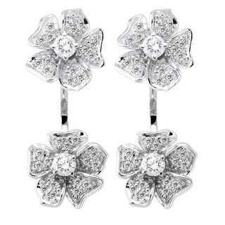 Beverly Hills Charm 14k White Gold 1ct TDW Diamond Behind The Ear Floating Jacket Flower Earrings Set (H-I, SI2-I1)