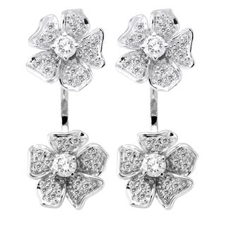 14k White Gold 1ct TDW Diamond Behind The Ear Floating Jacket Flower Earrings Set (H-I, SI2-I1)