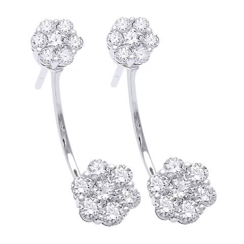 14k White Gold 1 1/2ct TDW Diamond Behind The Ear Floating Jacket Cluster Earrings Set (H-I, SI2-I1)