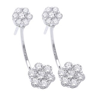 Beverly Hills Charm 14k White Gold 1 1/2ct TDW Diamond Behind The Ear Floating Jacket Cluster Earrings Set (H-I, SI2-I1)