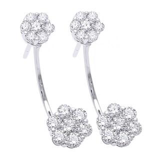 14k White Gold 1 1/2ct TDW Diamond Behind The Ear Floating Jacket Cluster Earrings Set (H-I, SI2-I1)