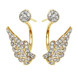 Beverly Hills Charm 14k Yellow Gold 1ct TDW Diamond Behind The Ear Wings Floating Jacket Earrings Set (H-I, SI2-I1)