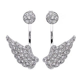 Beverly Hills Charm 14k White Gold 1ct TDW Diamond Behind The Ear Wings Floating Jacket Earrings Set (H-I, SI2-I1)