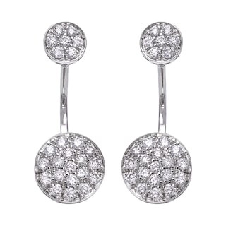 Beverly Hills Charm 14k White Gold 1ct TDW Diamond Behind The Ear Floating Jacket Earrings Set (H-I, SI2-I1)