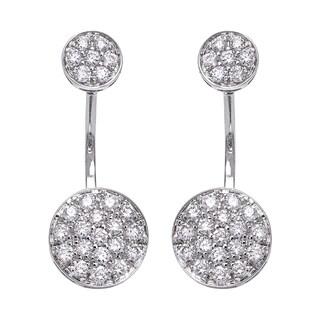 14k White Gold 1ct TDW Diamond Behind The Ear Floating Jacket Earrings Set