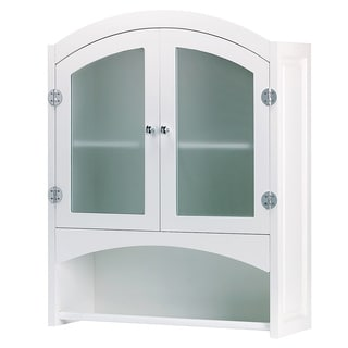 Classic White Wall Mounted Two-Door Bathroom Cabinet