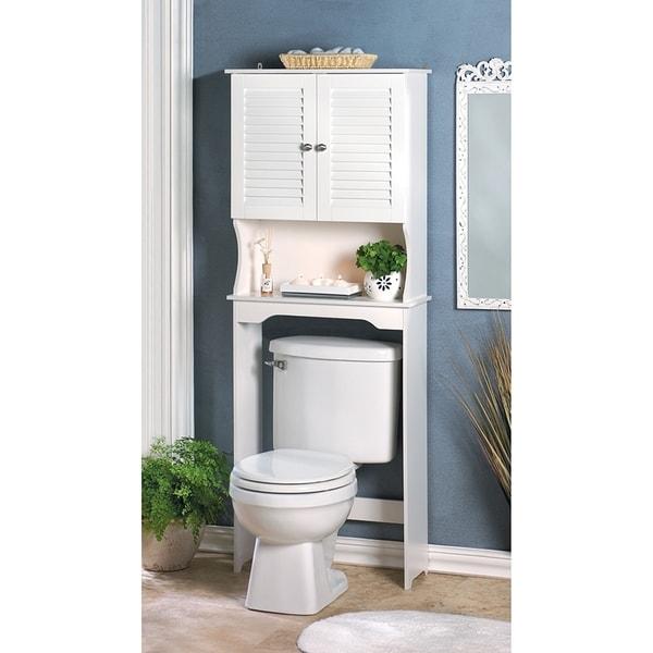 shop olympia white bathroom storage cabinet on sale free rh overstock com Cabinet Behind Toilet Storage around Toilet Cabinet