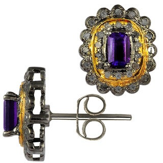 Orchid Jewelry Two-tone Gold and Black Rhodium Over 925 Sterling Silver 2 3/4 Carat Oval-cut Amethyst and Diamond Stud Earrings