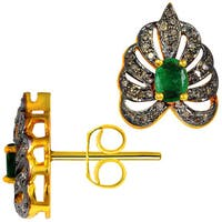 Orchid Jewelry 0.74ct Genuine Emerald & Diamond 925 Sterling Silver Stud Earring