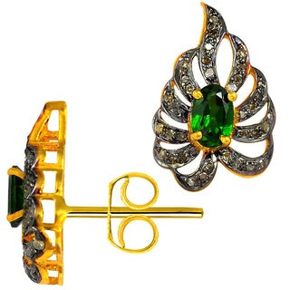 Orchid Jewelry Two-tone Gold and Black Over 925 Sterling Silver 1 1/2ct Oval-cut Chrome Diopside and Diamond Stud Earrings