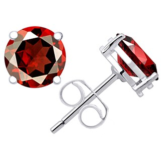 Orchid Jewelry Valentine Collection 925 Sterling Silver 3.03ct. Genuine Garnet Stud Earring