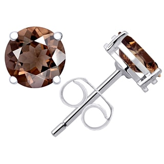 Orchid Jewelry's 2.50ct Genuine Smoky Quartz 925 Sterling Silver Stud Earring