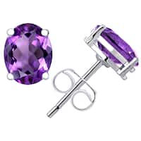 Orchid Jewelry 925 Sterling Silver 2 1/5ct. Genuine Amethyst Oval Stud Earrings