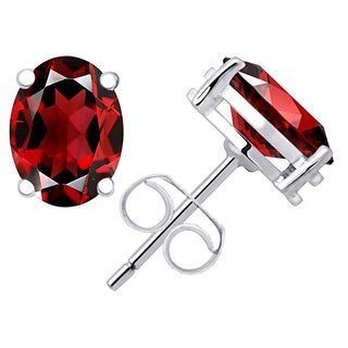 Orchid Jewelry Valentine Collection 925 Sterling Silver 2.97ct. Genuine Garnet Stud Earring