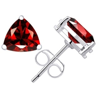 Orchid Jewelry Sterling Silver 3 3/4ct. Trillion-cut Garnet Gemstone Stud Earrings For Girls