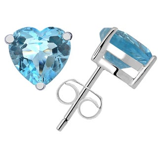 Orchid Jewelry 925 Sterling Silver 4 1/10ct. Genuine Blue Topaz Stud Earring