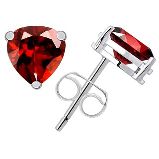 Orchid Jewelry 1 4/5ct Garnet Gemstone Heart Silver Stud Earrings