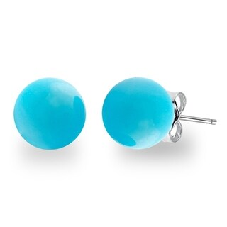 Orchid Jewelry Sterling Silver 7.00ct Genuine Turquosie Gemstone Ball Stud Earrings