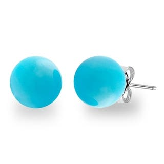 Orchid Jewelry Sterling Silver 7 00ct Genuine Turquosie Gemstone Ball Stud Earrings