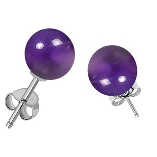Orchid Jewelry Sterling Silver 7.00ct Genuine Amethyst Gemstone Ball Stud Earring