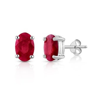 Orchid Jewelry Valentine Collection 925 Sterling Silver 2 1/4ct Genuine Ruby Stud Earrings