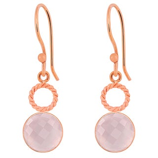 Orchid Jewelry Rose Gold Overlay 6 3/5ct Genuine Rose Quartz Dangle Earrings