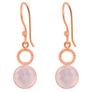 Orchid Jewelry Rose Gold Overlay 6 3/5ct Genuine Rose Quartz Earrings