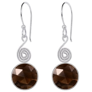 Orchid Jewelry Silver Overlay 8 1/4ct Genuine Smoky Quartz Earrings
