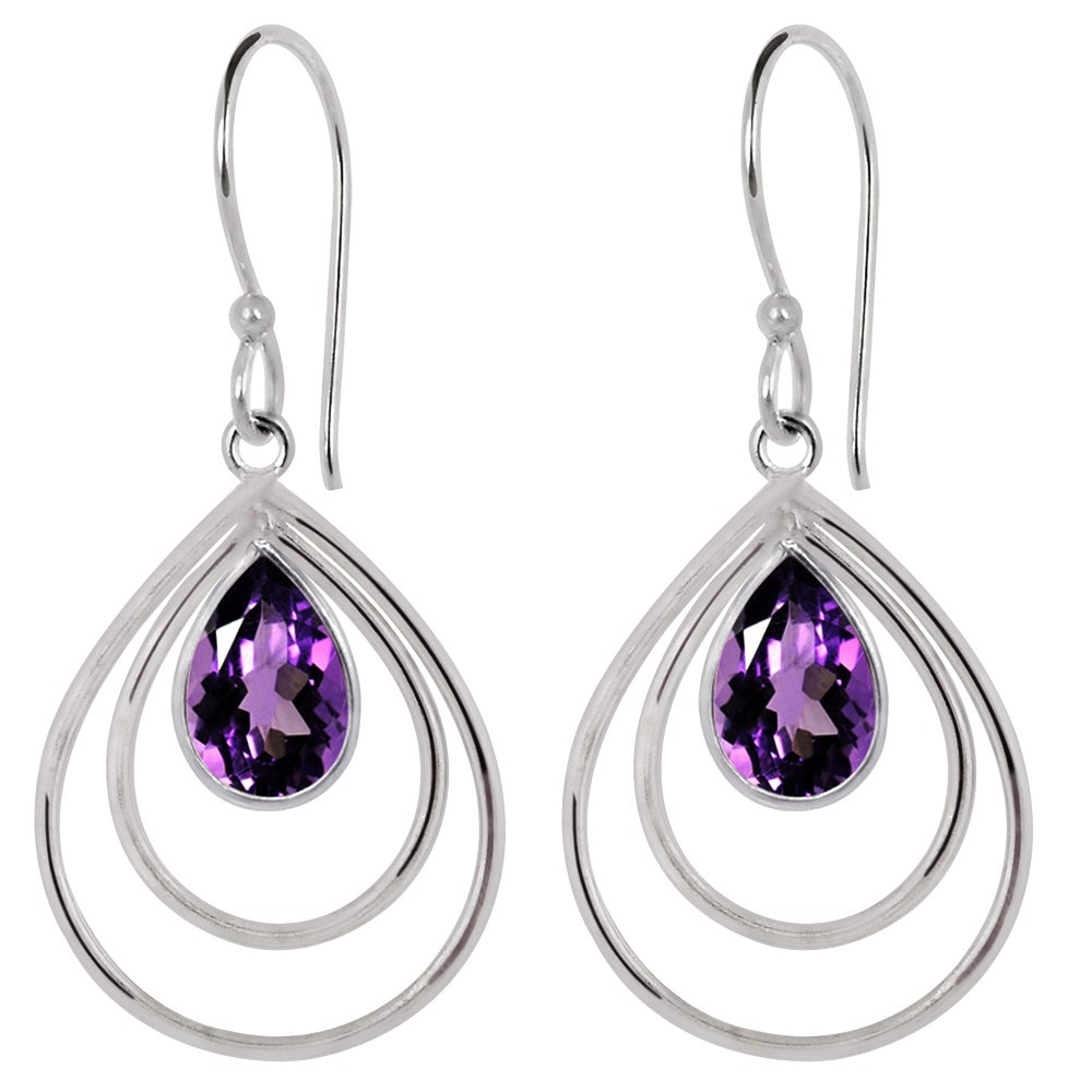 Orchid Jewelry Silver Overlay 3 1/7ct. Pear-cut Amethyst ...